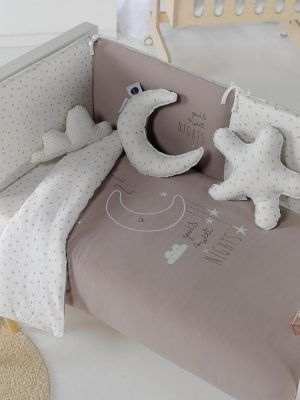 Bimbidreams Funda Nórdica con Protector Cuna Sweet Nights Taupe