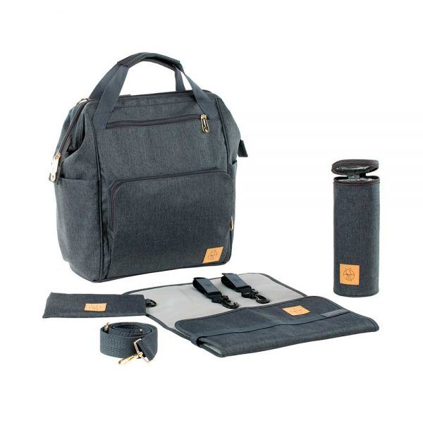Mochila Cambiador Glam Goldie Backpack Anthracite Lassig
