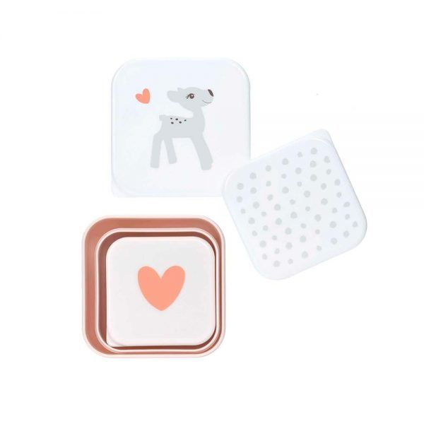 Set de 3 Fiambreras Snackbox Lela Light Pink Lassig